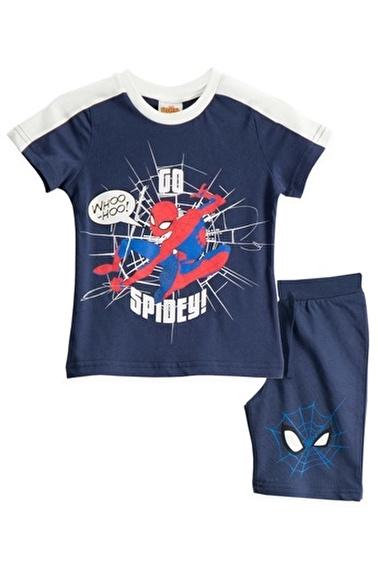 Spider-Man Spiderman Lisanslı Siyah Erkek Çocuk Bermuda Takımı Lacivert